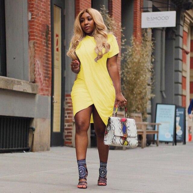 HAOYUAN Plus Size Summer Dress Women Irregular Split Robe Sexy Club Tunic Short Sleeve Black White Yellow Party T Shirt Dresses 3