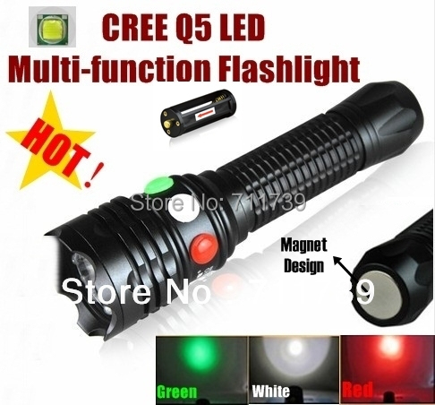 CREE Q5 LED signal light Green White Red LED Flashlight Torch Bright light signal lamp For 1x18650 or 3 x AAA Battery cylindrical led white light flashlight currency detection keychain silver 3 x lr44
