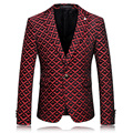 Mens Floral Blazer Slim Fit Blazer Masculino Wine Red Wedding Dress Prom Blazers Casual Jaqueta Masculina Brand Clothing Q55