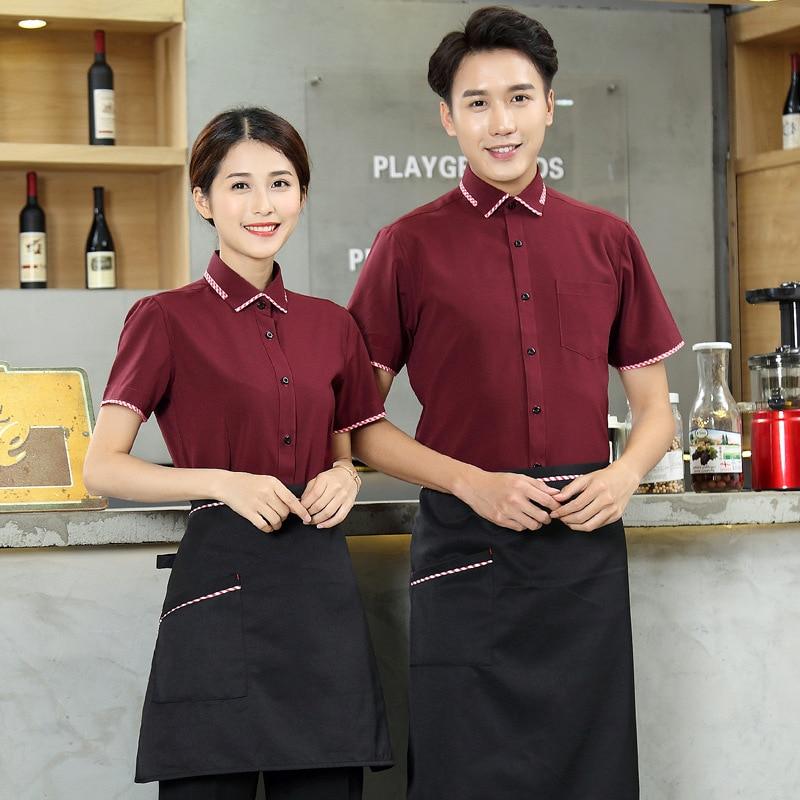 Cafe Staff Workwear Short Sleeve Hotel Uniform Summer Fast Food Hot Pot Shop Catering Restaurant Waiter Fashion Overalls H2277