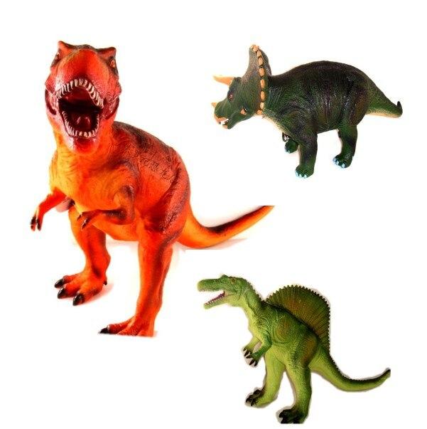Grand modèle de dessin animé de monde de dinosaure animaux mous tyrannosaure Spinosaurus Triceratops jouets figurines cadeau garçons