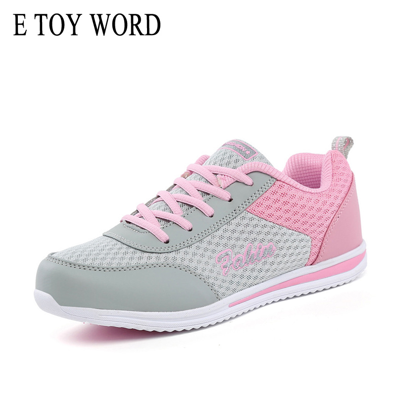 E TOY WORD Women Sneakers 2018 New fashion Breathable Mesh Women Casual Shoes lightweight walking sneaker tenis feminino