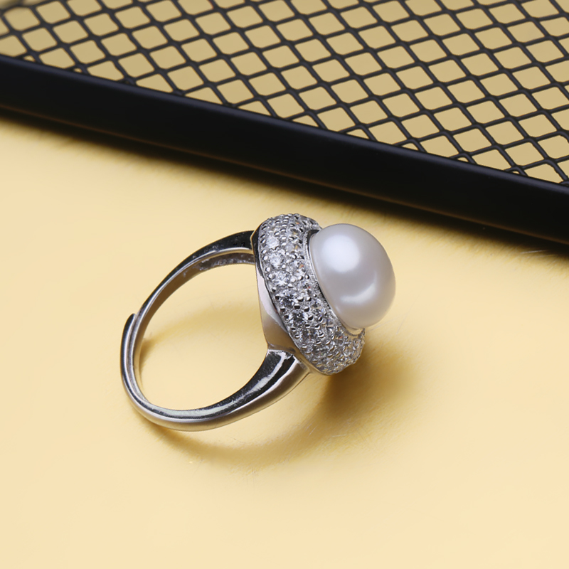 FENASY engagement ring,natural Pearl rings for women,new Freshwater pearl jewelry ring ,Big Size beads vintage ring fine jewelry