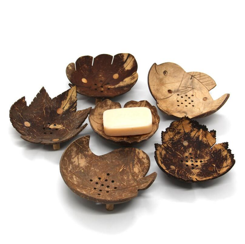 Creative Soap Dishes Retro Wooden Bathroom Soap Coconut Shaped Soap Dishes Holder Home Accessories LX6980