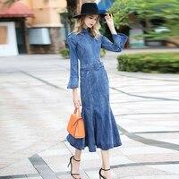 Free Shipping 2018 Fashion Denim Dresses Women Long Mid calf Plus Size S XL Mermaid Style Jeans Wrist Flare Sleeve Spring Dress