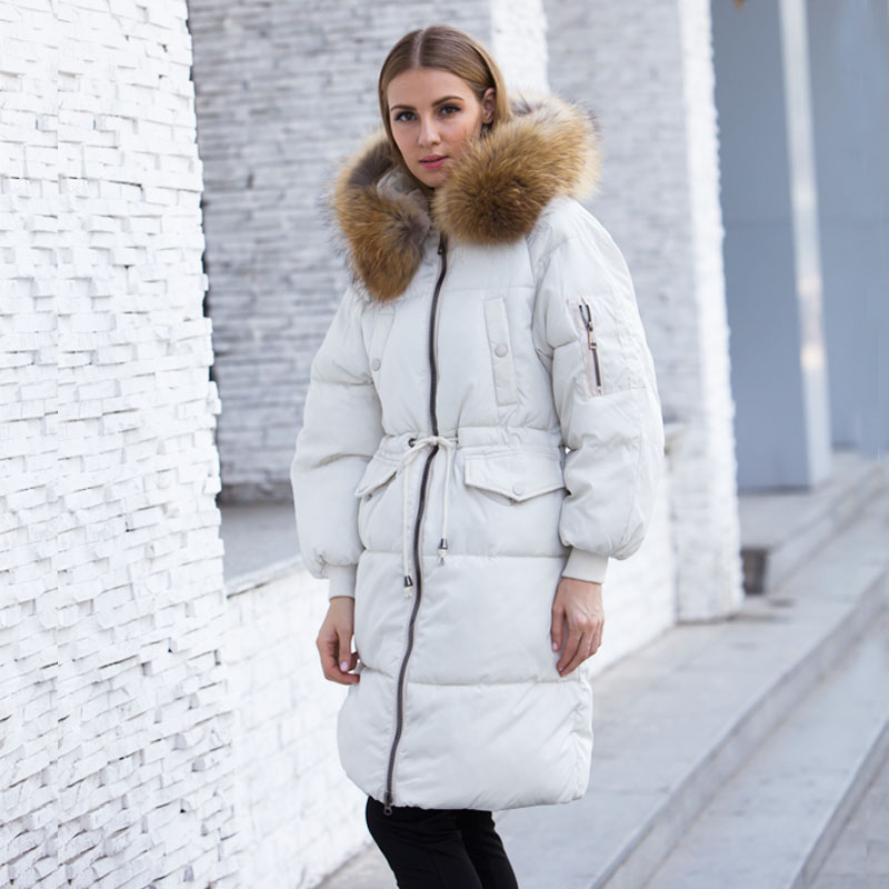 Winter Jacket Women 2018 Female   Parka   With Large Real Raccoon Fur Hooded Coats And Jackets Thick Warm   Parkas   Outwear Plus Size