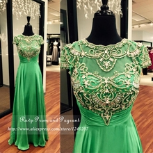Stunning Short Cap Sleeve Scoop Neck Stretch Satin Prom Dress A-line Pleated Long Green Prom Dresses