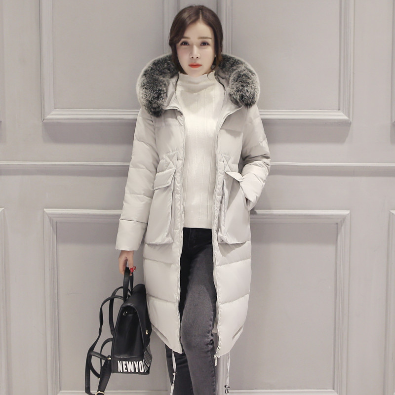 Winter long down jacket,thick warm down parka,large fur collar hooded parkas fashion casual slim winter coat overcoat TT1327 fashion long parka kids long parkas for girls fur hooded coat winter warm down jacket children outerwear infants thick overcoat