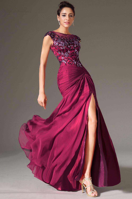 Purple Evening Dresses 2019 Mermaid Cap Sleeves Chiffon Lace Slit Sexy Plus Size Long Evening Gown