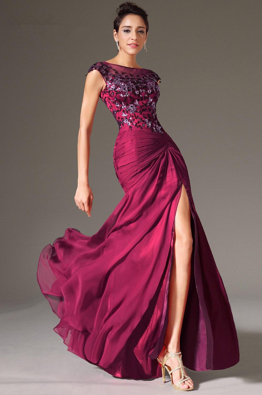 Violet robes De soirée 2019 sirène Cap manches en mousseline De soie dentelle fente Sexy grande taille longue Robe De soirée robes De bal Robe De soirée