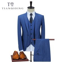 2019 Cotton Linen Suit Men Slim Fit Casual Business Wedding Dress Suits for Men Terno Masculino Tuxedo 3 Pcs Jacket Pants Vest(China)