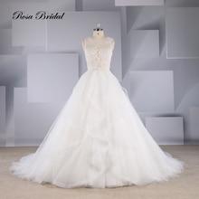 Rosabridal A-line Wedding Dress 2019 Newest O collar sleeveless full beading lace appliques bodice fancy ruffled skirt vintage round collar ruffled stripe flouncing sleeveless women s dress