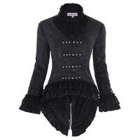 Women S Retro Gothic Rock Punk Coats Vintage Victorian Corset Style Medieval Lace Bandage Embellished Jacquard
