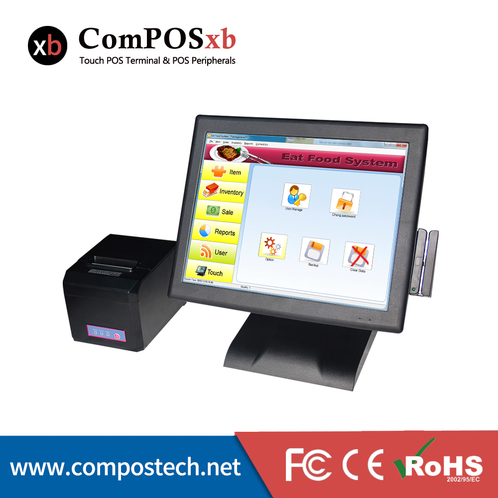 """Free Shipping 15"""" Pos Terminal/Pos System/ Epos All In One Pos Resistive Touch Screen Pos With 80mm Receipt Thermal Printer"""