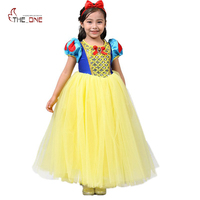 MUABABY Summer Children Girls Snow White Princess Dress Mesh Ball Gown Lantern Sleeve Ankle Length Mixed