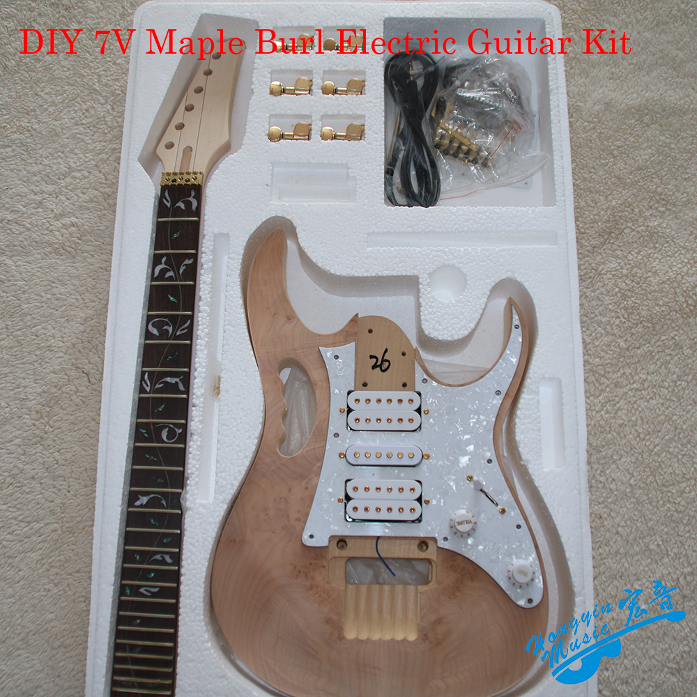 DIY 7V Maple Burl Electric Guitar Kit Set Basswood Body Rosewood Fingerboard Durable Maple Neck Guitar Accessories diy electric guitar kit unique body rosewood fingerboard neck for lp guitar body african mahogany with a 15 mm of american har