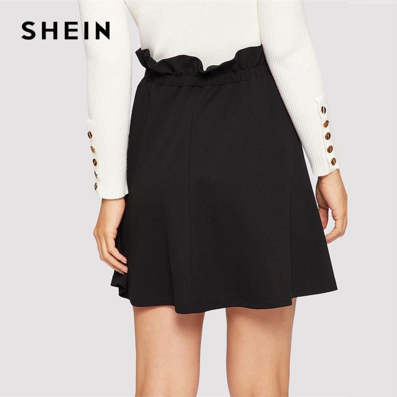 SHEIN Black Paperbag Waist Ruffle Button Front Shift Skirt Casual High Waist A Line Women Skirts 2019 Summer Slim Skirt 2