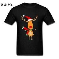 Cute Reindeer T Shirts Men Black Tees Shirt Teenager Screw Neck Kawaii Christmas Sweater T Shirts