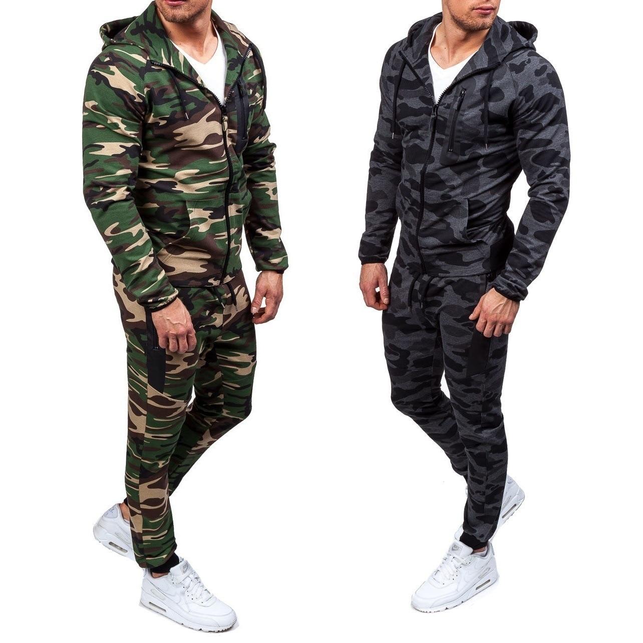 ZOGAA 2019 New Camouflage Printed Men Set Causal Jacket Men 2Pcs Tracksuit Sportswear Hoodies Sweatshirt Pants Jogger Suit