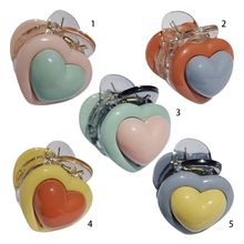Japanese Korean Sweet Girls Mini Side Bangs Hair Claw Grab Contrast Cream Colored Peach Heart Plastic Hairpin Styling Barrettes