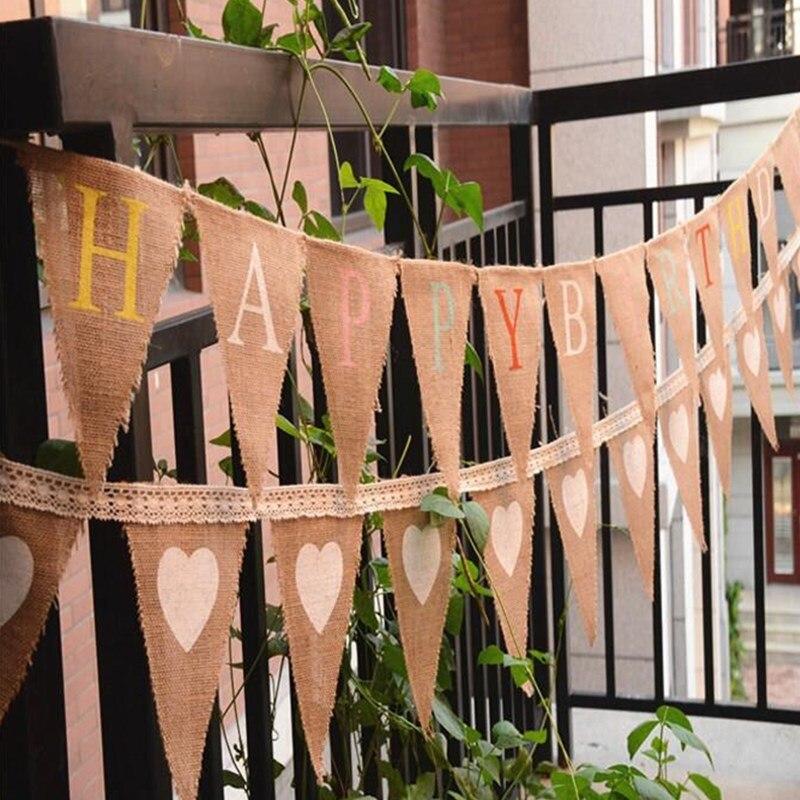 Vintage cuerda de yute lino triangular lino corazón banderín - Para fiestas y celebraciones