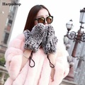 New Women's Real Genuine Knitted Rex Rabbit Fur Winter Korean style  Gloves Mittens high quality two colors gloves