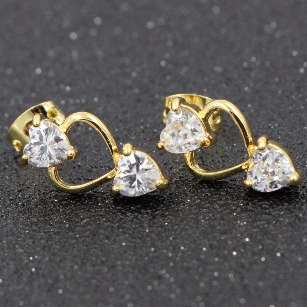 Earrings Stud Earrings Gentle Heezen Romantic Earrings Heart Shape Stud Earring For Women Two Beside With Cubic Zirconia One Middle Hollow Heart Shape Crazy Price