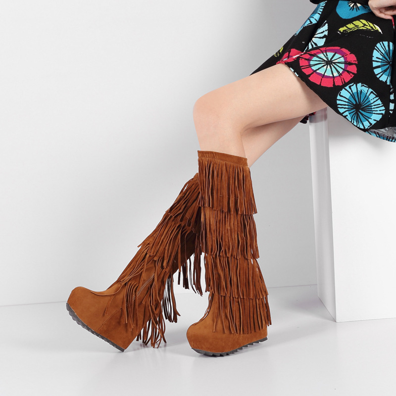 ФОТО 2016 New Fashion Spring/autumn Flock Fringe High Boots Square Heel (14cm-up) Black Women Shoes Short Plush Botas Mujer