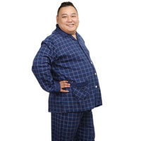 Plus Size XXXXXL 100% cotton men pajama sets spring Simple plaid mens Sleepwear pijamas pyjamas homme casual night wear for men