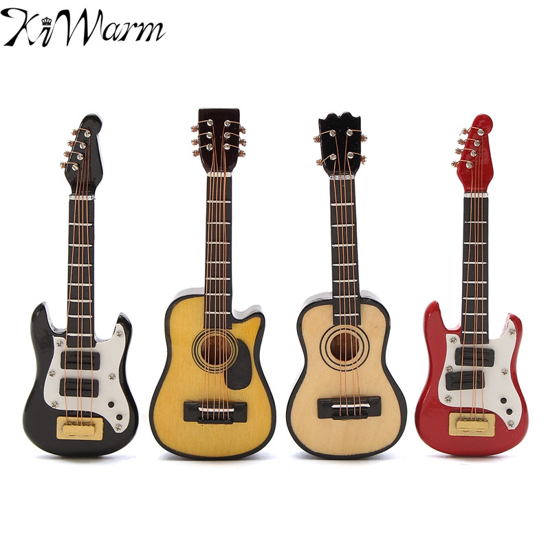 Kiwarm 1/12 Scale Dollhouse Miniature Guitar Accessories Instrument DIY Part For Home Decor Kids Gift Wood Craft Ornaments