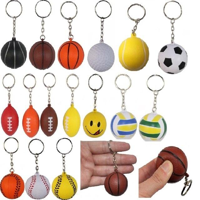 Soft Ball 4cm Basketball Volleyball Football Golf Rugby Tennis Foam Keychains Key Chain Key Ring Charm Pendant Plastic Crafts