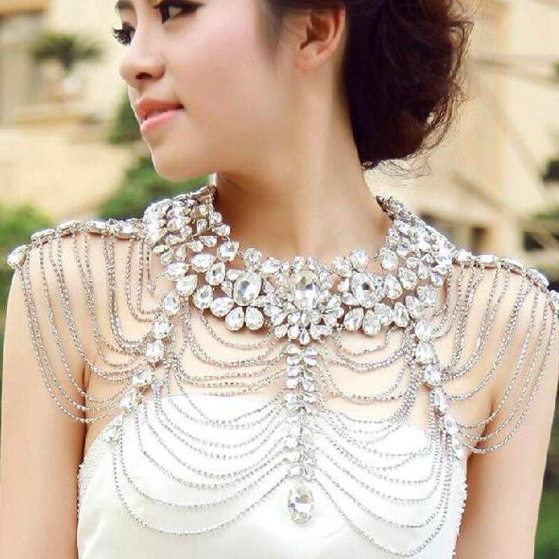 Strass cristal mariée à la main mariage épaule licou collier Imitation femmes Pageant fête de bal Bijoux Bijoux - 3