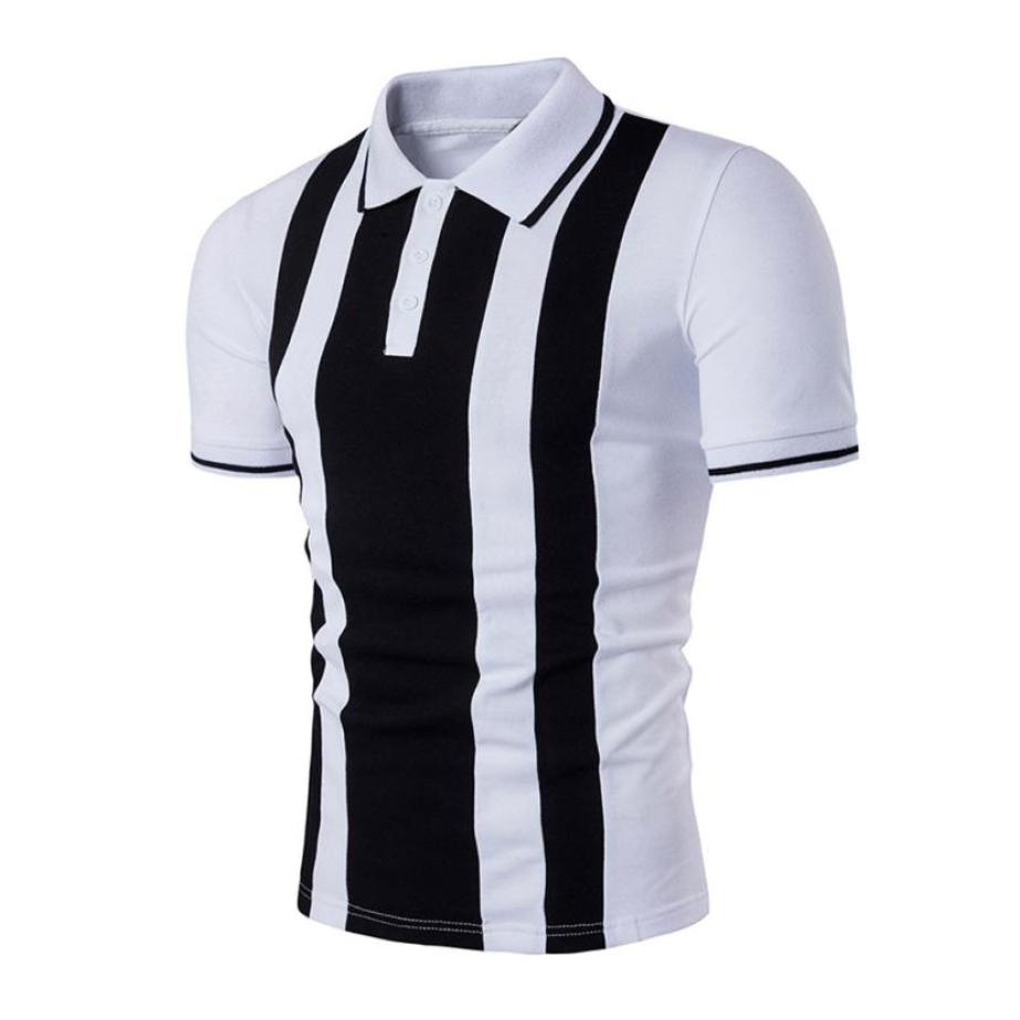 2018 New Fashion Hot sale  Summer Men's Slim Short Sleeve Casual daily Shirt T-shirts Tee Tops black and white F80