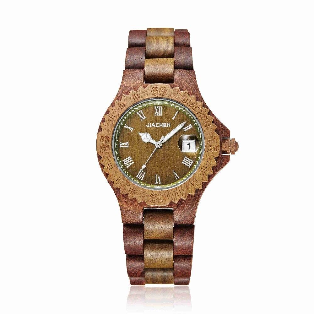 Для мужчин платье деревянные часы Уникальный Шестерни деревянный корпус наручные часы календарь Дисплей браслет подарок Relogio