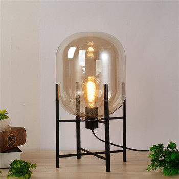 New Arrival D0112 Europe Table Lamp Glass Shades Metal Lamp Body Desk Light Amber Gray Color Shades Table Deco Lamp For Bedroom