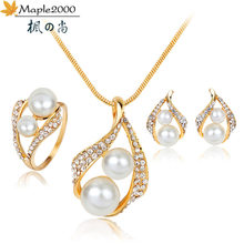 Maple2000 Europe and America Pearl Hot Sale Three-piece Lady Classic Shiny Crystal Earrings Necklace Ring Simple Fashion Set(China)