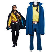 Full Set Solo: A Star Wars Story Cosplay Lando Calrissian Costume Cape Cloak Full Suit Halloween Carnival Cosplay Costumes