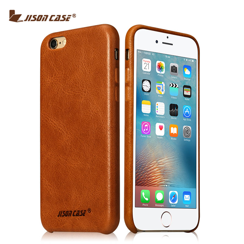 Jisoncase Genuine Leather Phone Cover For iPhone 6/6s Vintage Phone Case For iPhone Half-wrapped Anti-knock Business CaseJisoncase Genuine Leather Phone Cover For iPhone 6/6s Vintage Phone Case For iPhone Half-wrapped Anti-knock Business Case