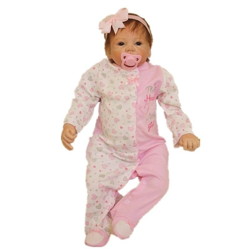 55cm/22'' Handmade Lifelike Baby Silicone Vinyl Realistic Reborn Toddler Dolls Girl Play Toy Collection 55cm 22 handmade lifelike baby silicone vinyl realistic reborn toddler dolls girl play toy collection