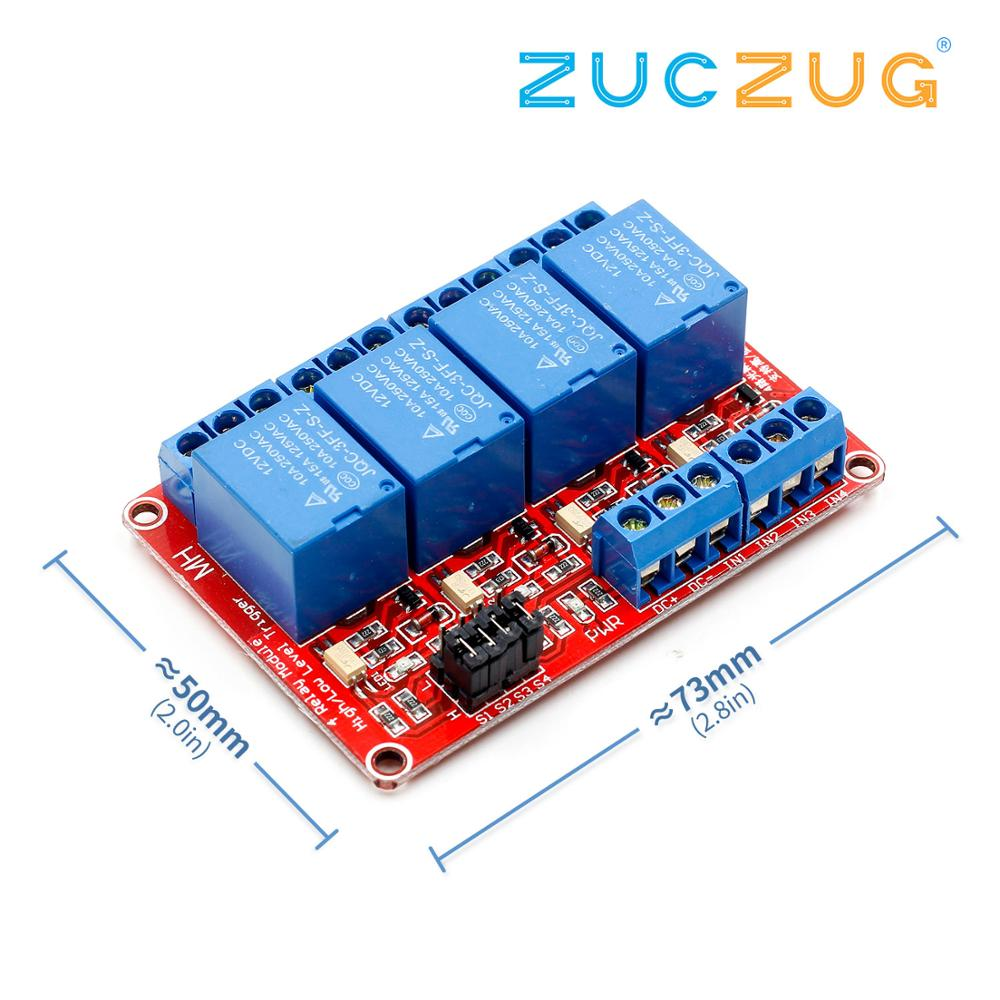 4 Channel 4 Road Relay Module With Optocoupler Isolation Support High And Low Level Trigger Relay Module 12V
