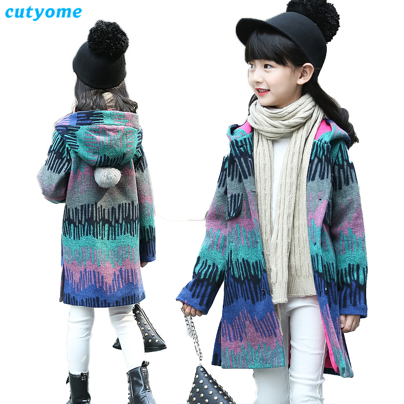 Cutyome Long Girls Wool Coat 2017 Winter Warm Hoodied Trench Jackets For Teenage Children Clothing Wool Dress Coats 11 12 13 14Y casual 2016 winter jacket for boys warm jackets coats outerwears thick hooded down cotton jackets for children boy winter parkas