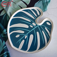 Nordic Gold Rim Turtle Leaf Storage Tray Ceramic Serving Tray For Teaware Drinkware Large Breakfast Coffee Cake Trays Decorative