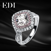 Classic Moissanite Three Stone Engagement Ring 14K White Gold 0 5Ct Moissanite Lab Grown Diamond Pink