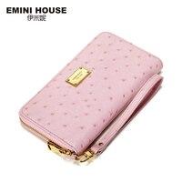 EMINI HOUSE New Fashion Genuine Leather Long Women Wallets Zipper Coin Purse Multifunction Money Clip Card