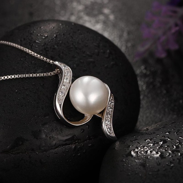 925 Sterling Silver Natural Freshwater Pearl Pendants Necklace 10-11mm