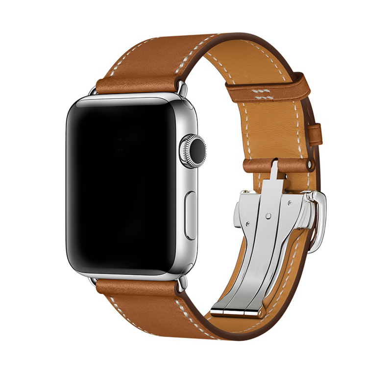 URVOI Deployment buckle band for apple watch series4 3 2 1 strap for iwatch belt Single Tour for Hermes watch band Swift Leather