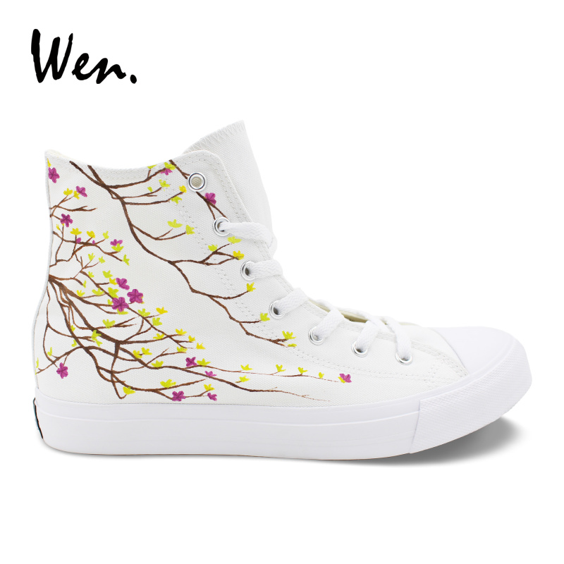d31c2aae1129 Wen Original Design Lovers Shoes Purple Rose Flower Hand Painted Shoes  Unisex White High Help Canvas Sneakers Lacing Casual Flat