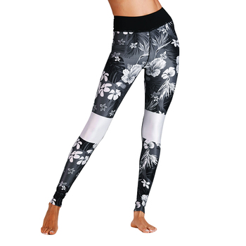 Fashion Print Fitness Leggings Women High Waist Workout Leggins Solid Color Patchwork Knitted Pants Slim Activewear Leggings
