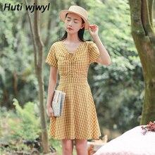 Summer Female Literary Plaid Linen Boho Dress 2018 Women Yellow Midi Dresses  Party Beach Red Sexy 7b237e6fe714