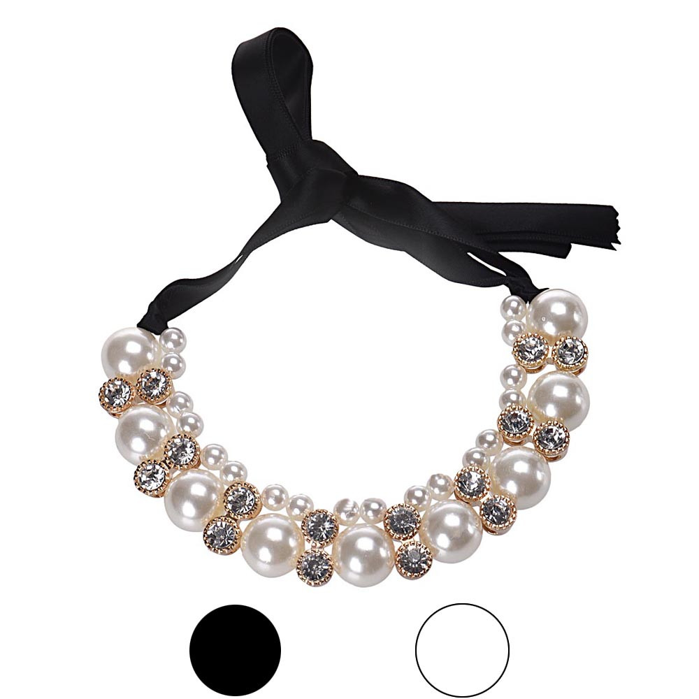 Fashion 1PC 45cm maxi necklace Women Double Row Adjustable Band Chain Rhinestone Necklace Pearl gift Vintage Jewelry #0621 ...